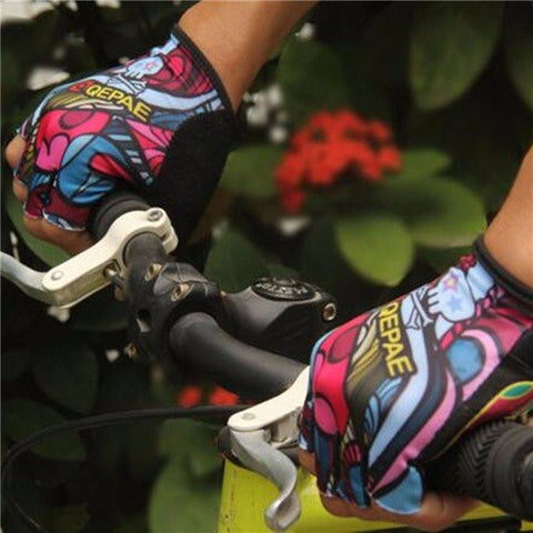 QEPAE Men Women Half Finger Gloves Outdoor Sports Riding Mountain Bike Gloves