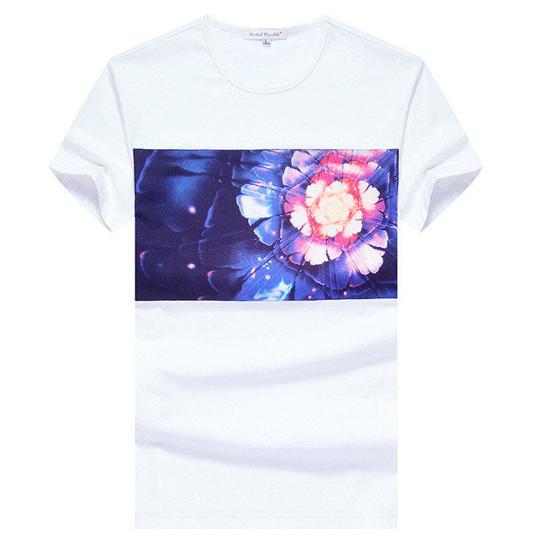 Mens Summer Colorful Flower Printing Round Neck Short sleeved Cotton T-shirts