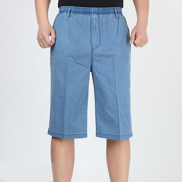 Plus Size Thin Elastic Waist Flax Cotton Loose Summer Mens Knee-Length Shorts