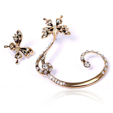 1 Pair Crystal Rhinestone Butterfly Ear Clip Earring