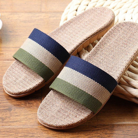 Men And Women Lover Stripe Rainbow Color Match Flax Slip On Flat Indoor Bathroom Home Slippers