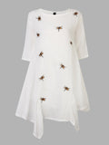 Vintage Women Dragonfly Printed Loose Linen Dress