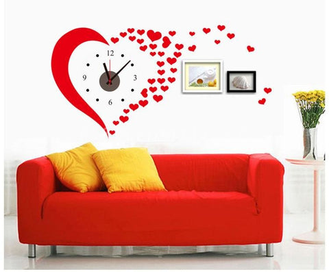 DIY PVC Red Heart Love Wall Clock Stickers Home Decoration