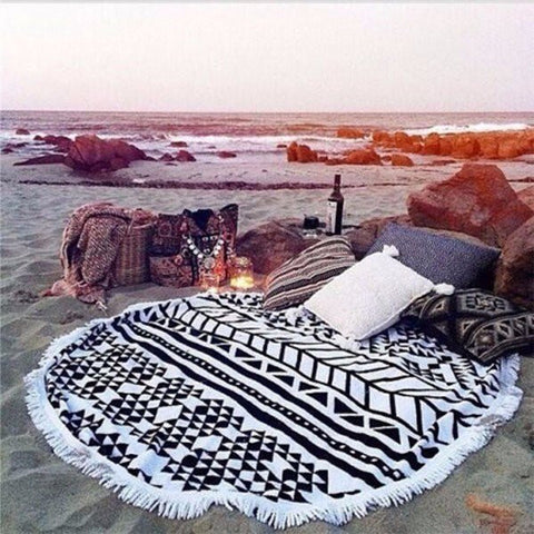 Bohemia Style Round Beach Towel Mat Cotton Tassel Knitted Scaves - shechoic.com