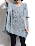 Women Casual Plus Size Bat Sleeve O Neck Mid-Length Blouse
