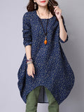 Vintage Women Printing Long Sleeve Irregular Mini Dress