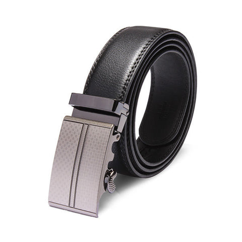 120cm Adejustable Men's Genuine Leather Black Automatic Buckle Belt - shechoic.com
