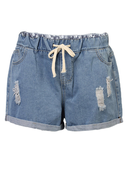 Casual Women Elastic Waist Rolled edge Hole Denim Shorts