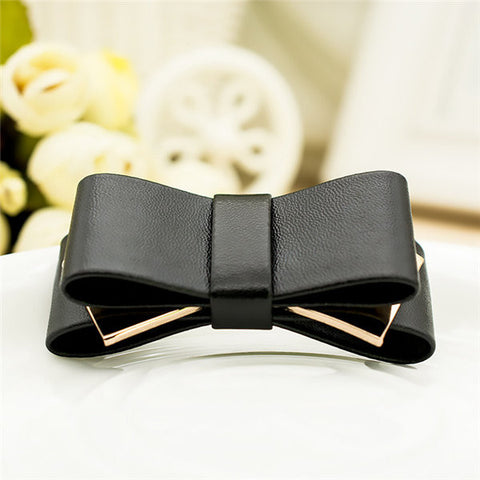 1 Pair Bridal Wedding Black Faux Leather Ribbon Bow Butterfly Clips - shechoic.com