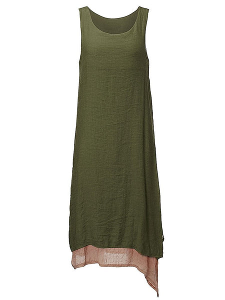 Vintage Pure Color Two-Layer Cotton Linen Dress Sleeveless Ankle Length For Women