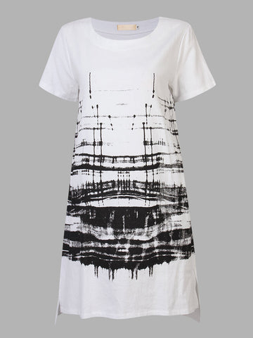 Casual Vintage Women Printed Short Sleeve Cotton Linen Dress