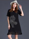 Elegant Summer Women Solid Tassel Printed Mini T Shirt Dress