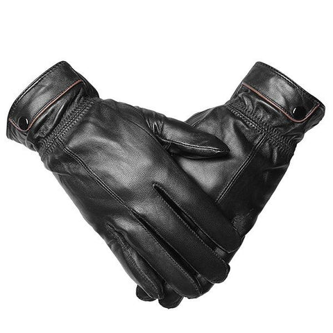 Men's Anti-Freeze Thermal Sheepskin Leather Buckles Outdoor Sports Cycling Gloves