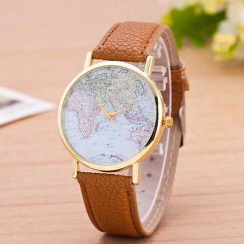 Alloy Leather Map Pattern Wrist Watch