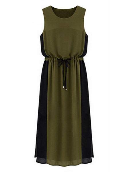 Women Sleeveless O Neck Contrast Color Side Split Maxi Dress