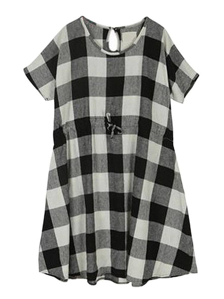 Casual Linen Drawstring Check Short Sleeve Round Neck Mini Dress