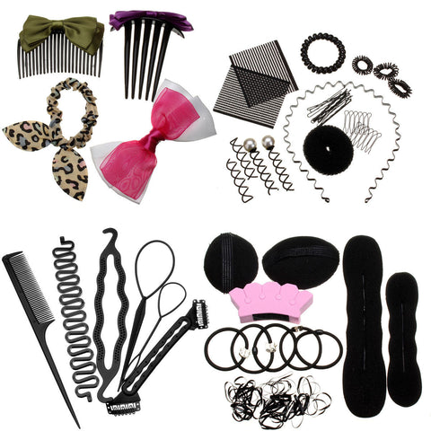 Lady Hair Styling Maker Pads Foam Sponge Bun Donut Hairpins Accessory Tool Kit