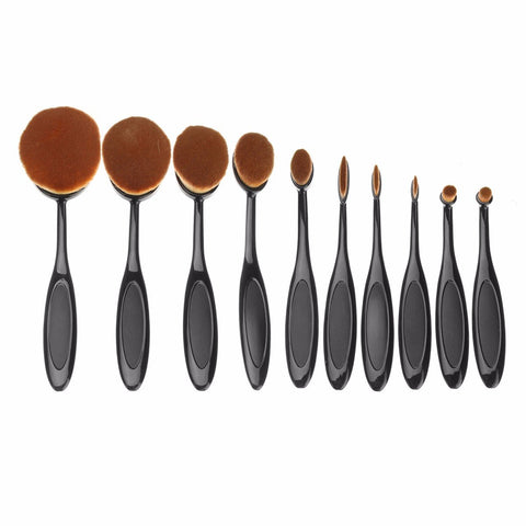 10Pcs Professional Oval Soft Makeup Brushes Foundation Powder Cosmetic Puff