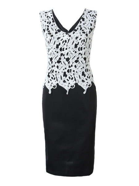 Sexy Lace Crochet V-Neck Slim Pencil Vest Dress For Women