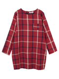 Vintage Women Plaid Loose Knee-Length Linen Cotton Dress