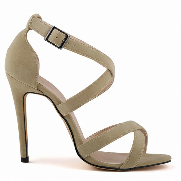 2459d5eb709 Big Size Strappy Vintage Peep Toe High Heel Buckle Sexy European Style  Pumps Sandals