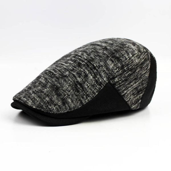 Men's Leather Eaves Knit Beret Hats Winter Warm Peaked Cap