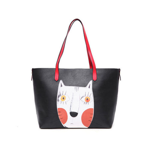 2PCS Cartoon Cat Handbags Print Casual Large Capacity Ladies Shoulder Bag - shechoic.com