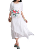 Vintage Women Floral Printed Short Sleeve Two Layers Patchwork Linen Dress