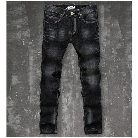 Men's Casual Business Straight Black Jeans Washed Waterstreak Denim Pants