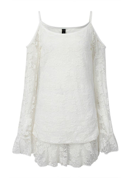 Women Ruffles Hollow Floral Off Shoulder Long Sleeve White Lace Dress