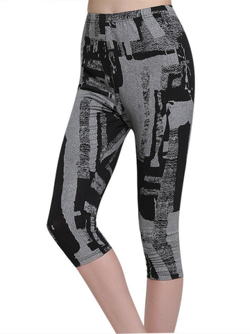 Women Printed Elastic Waist Seventh Pants
