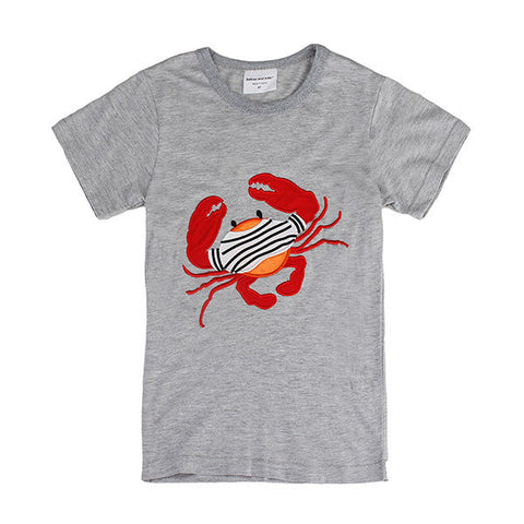 Lovely Crab Baby Children Boy Pure Cotton Short Sleeve T-shirt Top