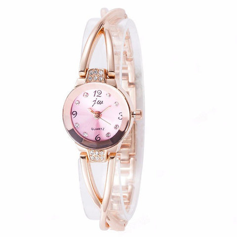 Round Dial Inlaid Rhinestone Watch