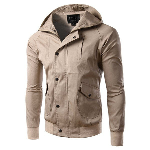 Men's Spring Fall Casual Slim Fit Hooded Jacket