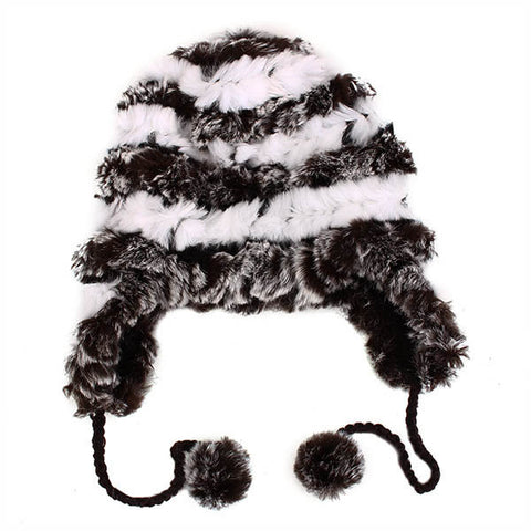 Female Ear Protection Cap Real Knitted Rex Rabbit Fur Thermal Charm Beanies Hats