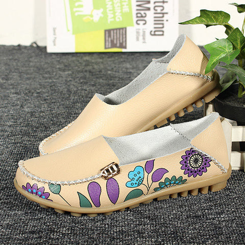 Socofy Flower Print Soft Comfortable Flat Leather Lazy Slippers Shoes