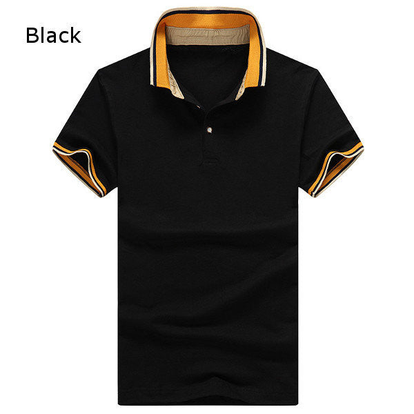 Mens Casual Short Sleeved POLO T-shirts Fashion Solid Color Tops Tees
