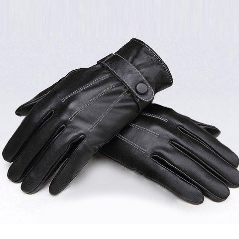 Black Windproof PU Leather Men's Cycling Drive Covered Button Gloves - shechoic.com