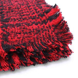 Plaid Tassle Hem Knitted Tweed Casual Thicken Warm Scarf Shawl