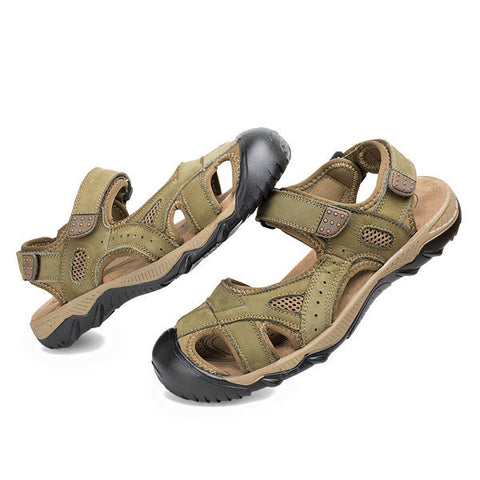Men Leather Toe Protecting Hollow Out Hook Loop Outdoor Sandals