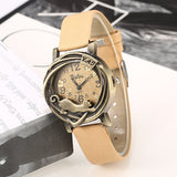 Vintage Engraved Alloy Cat PU Leather Watch