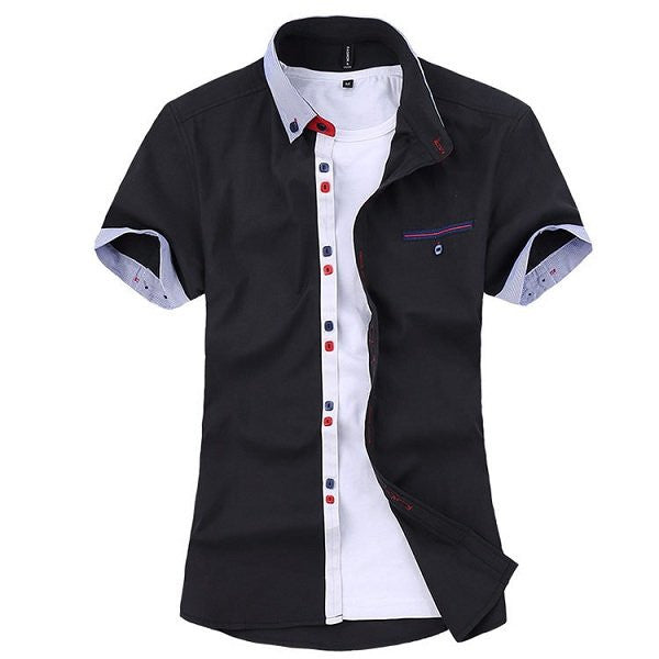 Summer Mens Contrast Colors Buttons Turndown Collar Short Sleeved Cotton Shirts