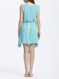 Casual Women Embroidery Patchwork High Low Dress With Belt