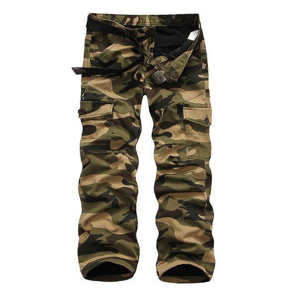 Men's Winter Fashion Thick Warm Cargo Pants Outdoor Camouflage Multi-pocket Overalls