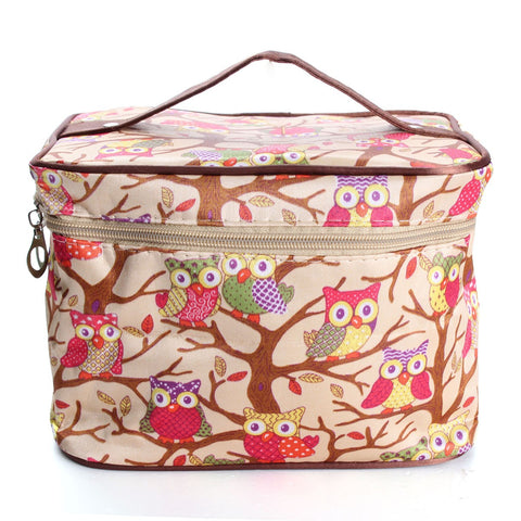 Owl Pattern Makeup Bag Travel Handbag Toiletry Case With Mirror