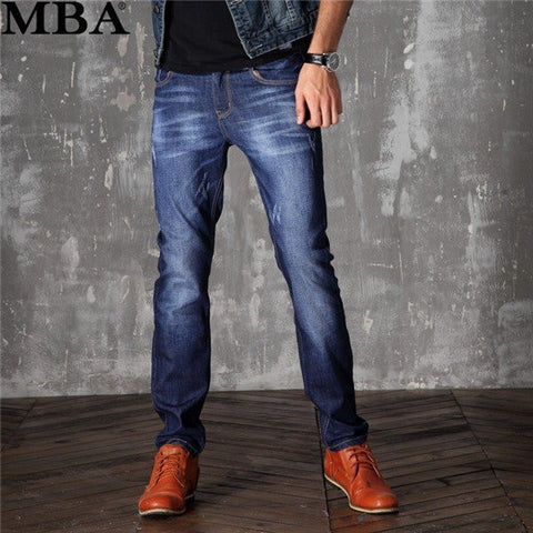 Men's Straight Slim Jeans Dark Blue Denim Pants Mid-Rise Cowboy Pants