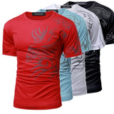 Summer Mens Cotton Printing Slim Short Sleeve Causal O-neck T-shirt