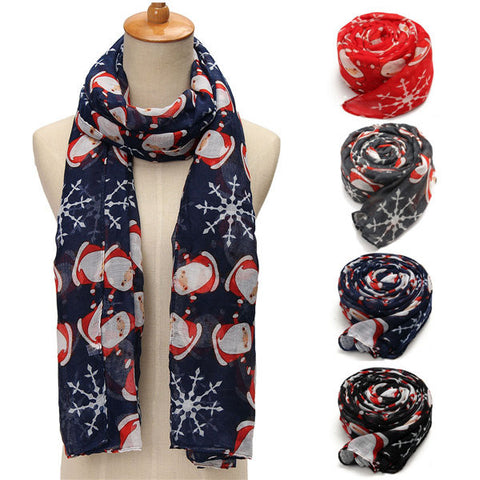 Women Winter Voile Christmas Robin Snow Flake Scarf Shawl Stole Wraps