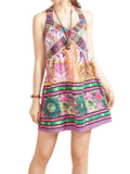 Women Ethnic Strap V Neck Floral Printed Cotton Linen Mini Dress Summer Beach Dress