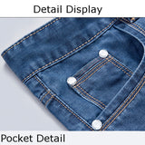 Summer Casual Denim Washed Knee Length Slim Fit Jeans Plus Size Shorts For Men